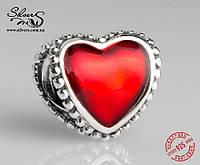 """Серебряная подвеска-шарм Пандора (Pandora) """"Красное сердце"""" для браслета"""