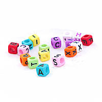 Фурнитура бусина цветная с английским алфавитом ассорти,материал пластик, цена за 1 шт
