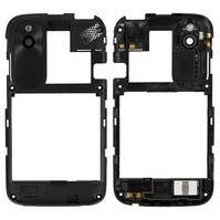 Рамка корпуса с защитным стеклом камеры для мобильного телефона HTC T328w Desire V, с антеной, с черной накладкой, черная