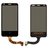 Сенсорный экран для мобильного телефона Nokia 620 Lumia, (версия прошивки 3046.xxxx.xxxx.xxxx (AMBER)), новая версия, rev3, черный