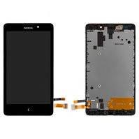 Дисплей для мобильного телефона Nokia XL Dual Sim, черный, с рамкой, с сенсорным экраном