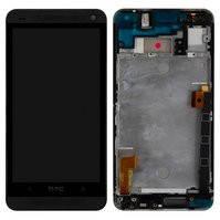 Дисплей для мобильного телефона HTC One M7 Dual Sim 802w , черный, с передней панелью, с сенсорным экраном