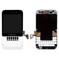 Дисплей для мобильного телефона Blackberry Q5, белый, с передней панелью, с сенсорным экраном