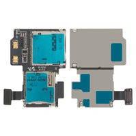 Коннектор SIM-карты для мобильного телефона Samsung I9500 Galaxy S4, с коннектором карты памяти, со шлейфом