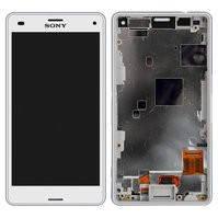 Дисплей для мобильных телефонов Sony D5803 Xperia Z3 Compact Mini, D5833 Xperia Z3 Compact Mini, белый, с рамкой, с сенсорным экраном, original (PRC)