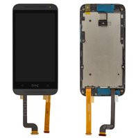 Дисплей для мобильных телефонов HTC Desire 601, Desire 601 Dual SIM, черный, с передней панелью, с сенсорным экраном
