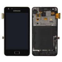 Дисплей для мобильного телефона Samsung I9100 Galaxy S2, черный, с сенсорным экраном, с передней панелью, original (PRC)