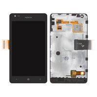 Дисплей для мобильного телефона Nokia 900 Lumia, черный, с сенсорным экраном, с рамкой