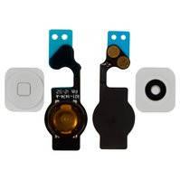 Шлейф для мобильного телефона Apple iPhone 5, кнопки меню, белый