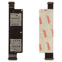 Коннектор SIM-карты для мобильного телефона Asus ZenFone 4 (A450CG), на две SIM-карты, со шлейфом, с коннектором карты памяти