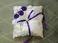Подушечка для колец бело-фиолетовая