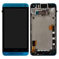Дисплей для мобильного телефона HTC One M7 801e, голубой, с сенсорным экраном, с передней панелью, original (PRC)