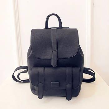 Рюкзак жіночий з клапаном і кишенею (чорний)