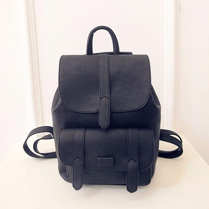 0fd053c017f9 Рюкзак женский с клапаном и карманом (черный) - Интернет-магазин «VINGO»