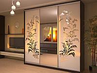 Шкаф-купе 3-х дверный с рисунком на зеркалах (пескоструй)