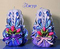 Свечи ручной работы с  тканевыми цветами