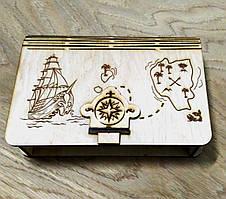 Деревянная копилка Пиратские сокровища
