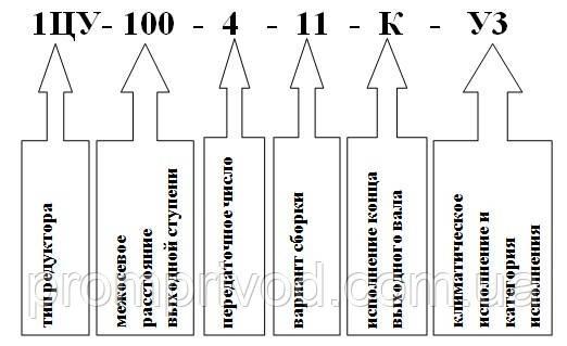 Условное обозначение редуктора 1ЦУ-100