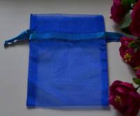 Подарочная упаковка из органзы, сапфировый цвет 15*10см