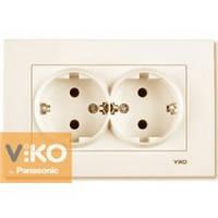 Розетка двойная с заземлением крем Viko (Вико) Karre (90960156)