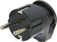 Вилка бытовая e.plug.angle.008.16, с з/к, 16А угловая черная