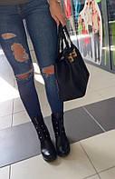 Стильные женские ботинки в стиле HERMAS натуральная кожа, внутри на байке, декор болты. Цвет черный