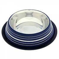 Миска для собак цветная ст. н/ж c серебр. полосами 20,5 см. 525 мл.