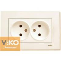 Розетка двойная без заземления крем Viko (Вико) Karre (90960155)