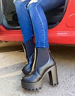 Женские ботинки на высоком каблуку 10 см, материал искусств. кожа, вставки резинки. Цвет черный
