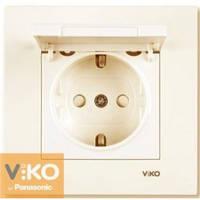 Розетка с заземлением со шторками и крышкой крем Viko (Вико) Karre (90960112)
