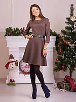 Нарядное женское платье с атласным поясом коричневого цвета