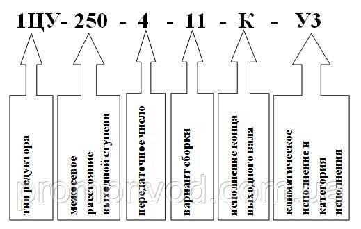 Условное обозначение редуктора 1ЦУ-250
