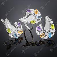 Серебряный набор украшений с самоцветами. Артикул А-170