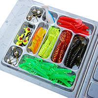 Рыболовный набор: cиликоновые приманки 35 шт+10крючков