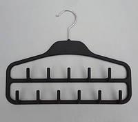 Плечики вешалки тремпеля ежик пластмассовый обрезиненный черного цвета