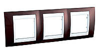 SHNEIDER ELECTRIC UNICA TOP Рамка трехмодульная горизонтальная Табак (Алюминий)