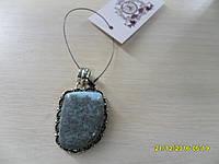Кулон из натурального камня ларимар в серебре.