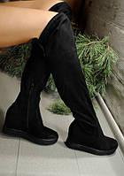 Стильные женские ботфорты-чулки, цвет черный