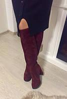 Стильные женские ботфорты,евро-зима,натуральный замш, цвет марсала