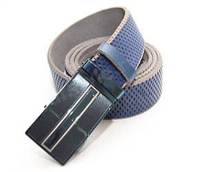 Кожаный синий ремень, пряжка автомат (11370)