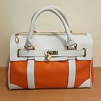 Женская сумка Diana оранжевая с белым ,классика