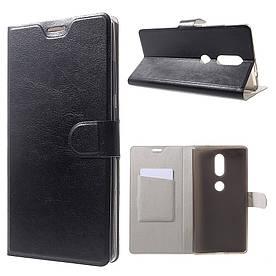 Чехол книжка для Lenovo Phab 2 Plus боковой с отсеком для визиток, гладкая кожа Черный