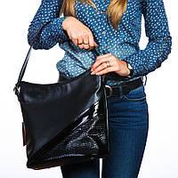 Сумка женская мешок с лаковой полосой и вставкой