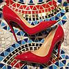 Красные лаковые туфли Christian Louboutin.Кожа.