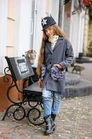 Стильное детское кашемировое пальто, мех искусственный, цвет серый