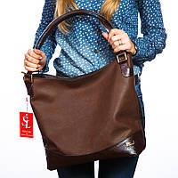 Коричневый женский мешок вместительная сумка-шоппер