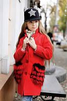 Стильное детское кашемировое пальто, мех искусственный, цвет красный