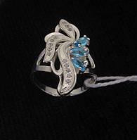 Кольцо серебро 925 проба 17.5 размер №1169 ГОЛУБОЕ АЖУРНОЕ