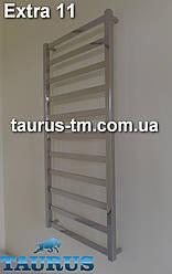 Дизайнерский нержавеющий полотенцесушитель Extra 11/ шириной 500 мм из квадратных труб и прямоугольных.