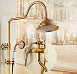 Душевая стойка для ванной комнаты с верхним душем со смесителем краном и лейкой бронза, фото 2